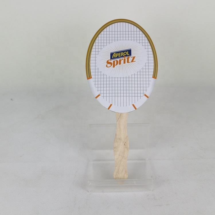 Custom printed designs paper hand fan with bamboo
