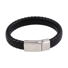 bangle-44 Xuping simple fashion design stainless steel jewelry men leather bracelet