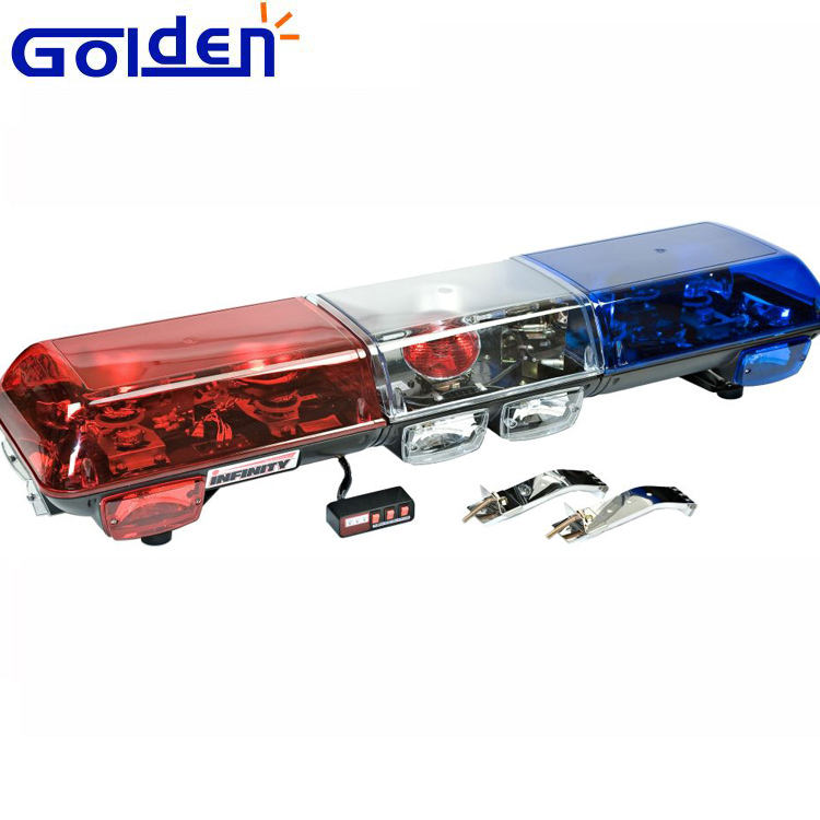 Red blue amber halogen emergency vehicle security rotating police light bar