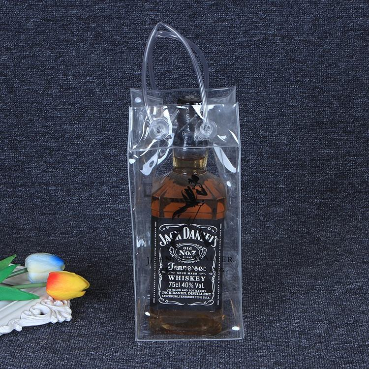 China factory promotional transparent pvc material cooler dry ice wine bag with handle
