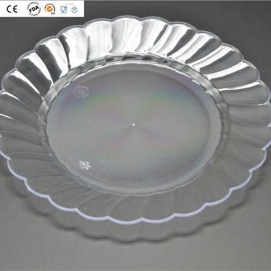 Wave Edge Clear Plastic Round Plate