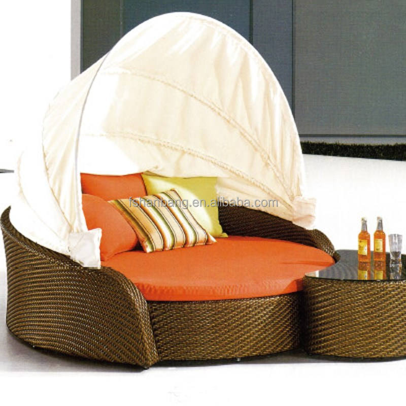 Dominica Outdoor Wicker Patio Furniture Canopy Day Bed Circular Lounge