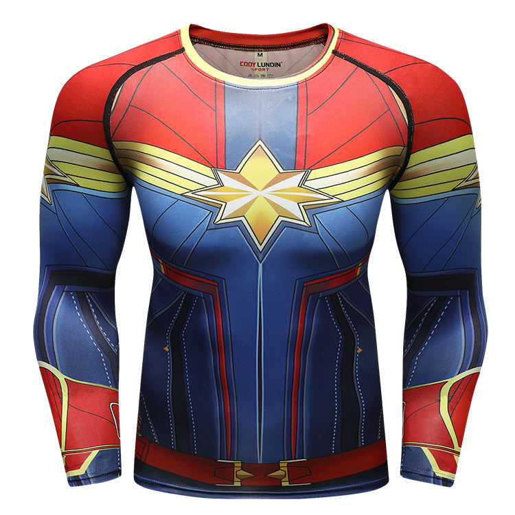 Free Shipping Mens Superhero Rashguard Polyester Spandex Captain Marvel Shirt