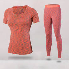 2PCS PACK New Yoga Fitness Tight Women Wick Workout Gym Clothes Running Pants Compression T-shirt Tracksuits Yoga Sport Suits