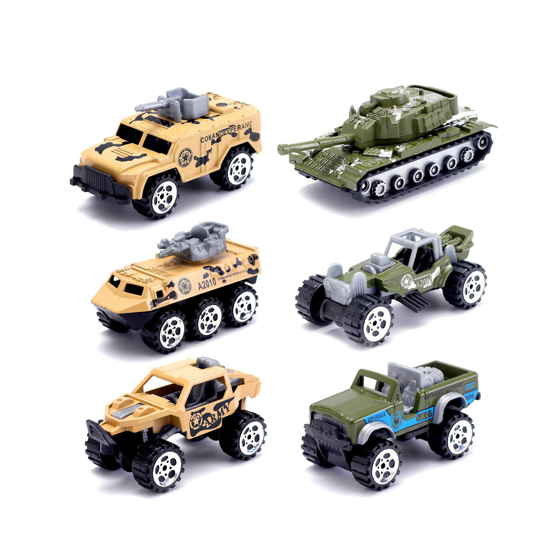 Military Toys Die-cast Vehicles ,6 Pack Assorted Mini Vehicle Set,Metal Army Car Armored Car Tank Jeep Die Cast Model Car Toy