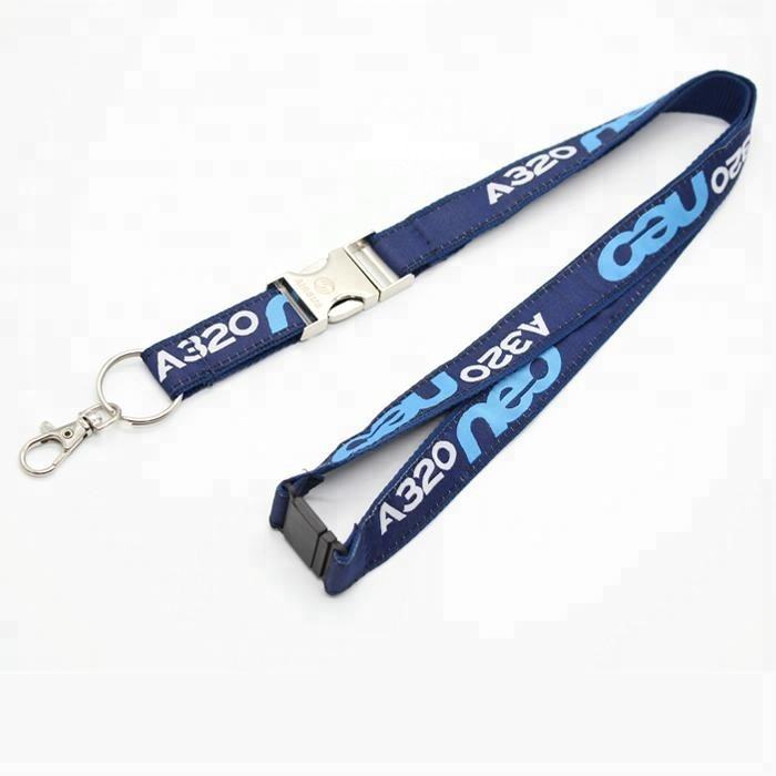 Custom Airbus A320 NEO Woven Lanyard with laser logo on detachable clip