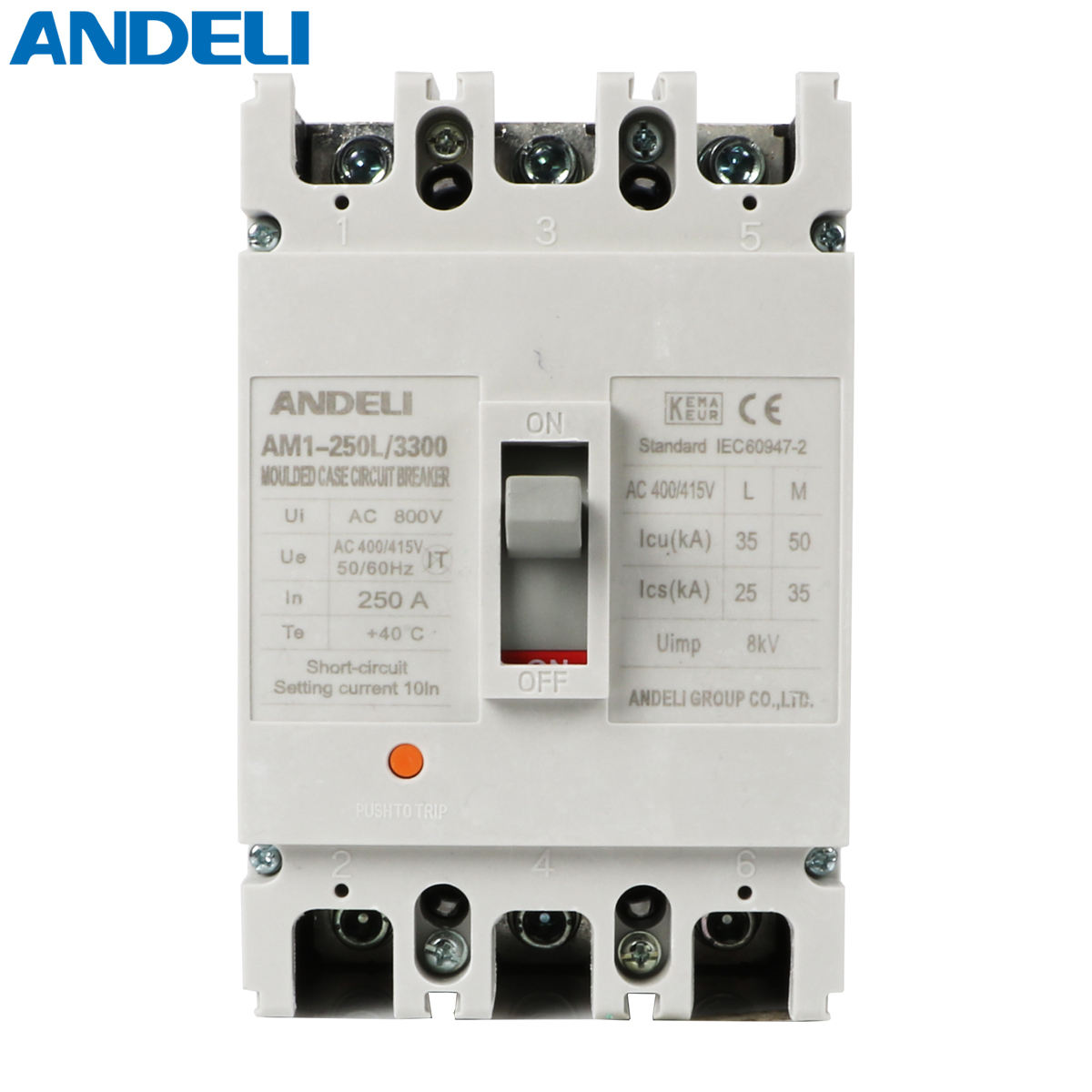 ANDELI AM1-250L/3300 Series Moulded Case Circuit Breaker 160 amp mccb