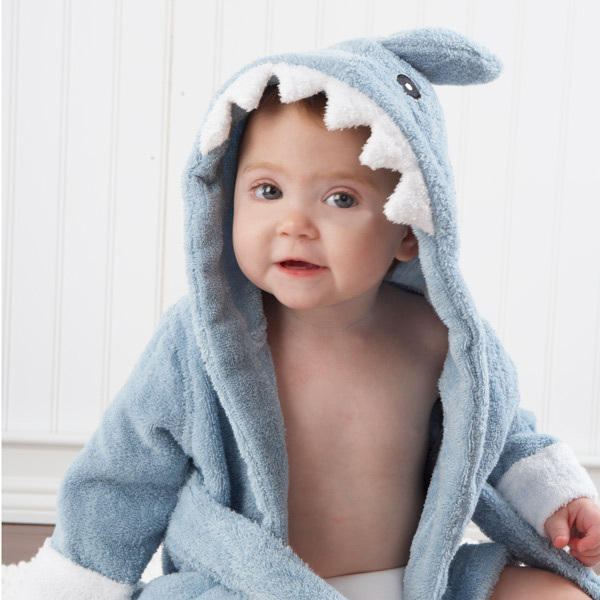 Quality kids toddler elephant duck unicorn shark animal head beach shower Soft organic cotton terry hooded baby bathrobe towel