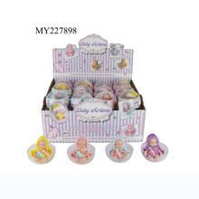 Environmentally friendly 12 cm silicone plush sleeping baby doll with bottle in PVC egg shell 24PCS/box
