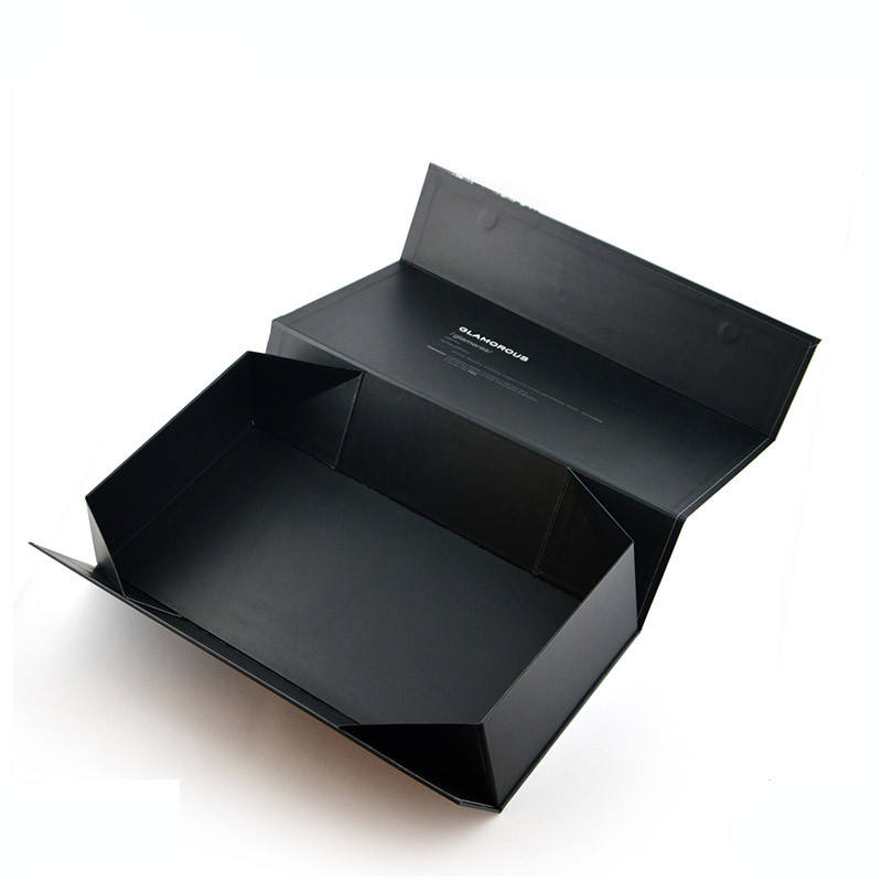 Custom logo matte black folding magnetic gift cardboard boxes collapsible magnet flap top open paper box cosmetics packaging