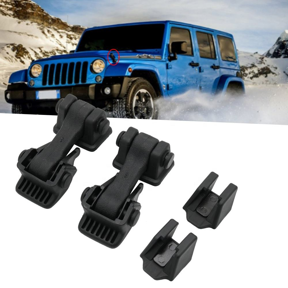 ABS Engine Hood Latch Lock Catches Engine Lower Hood Latch Upper Hood Catch Bracket Set For Jeep Wrangler TJ 1997-2006