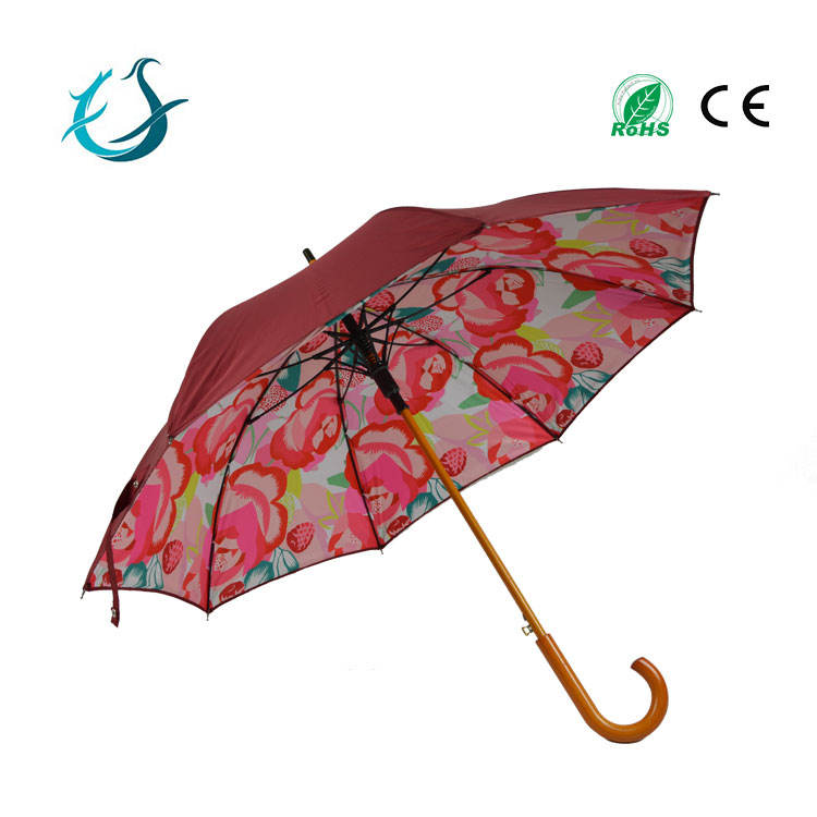 Full printed straight flower umbrella with color printing pattern