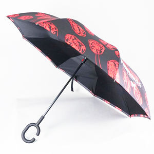 Hot selling custom logo printed Inverted Umbrella with C handle