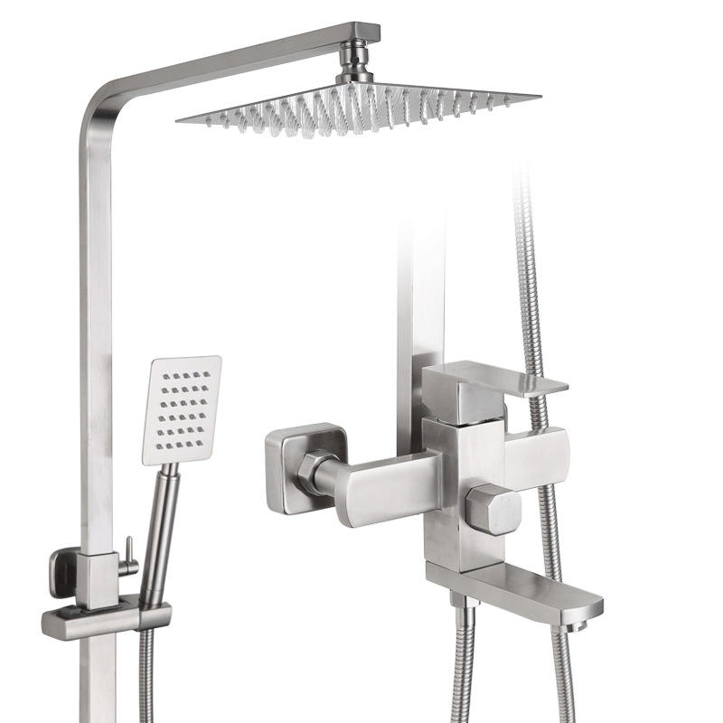 Rainfall wall mounted top shower and hand shower set 304 Stainless Steel Wall-mount Bath Tub Rain-style Shower Faucet