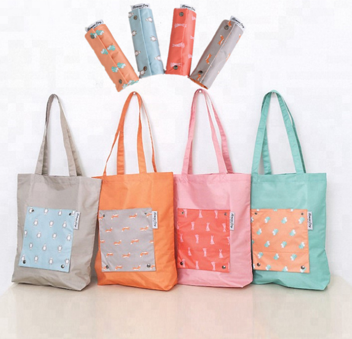 Customized Cheaper Polyester Foldable Shopping Bag Reusable Tote Shopping Bag