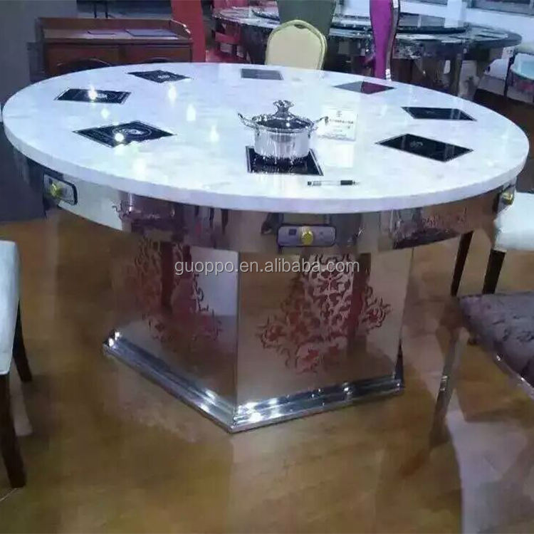 Commercial electric hot pot BBQ grill with steamboat build in restaurant table