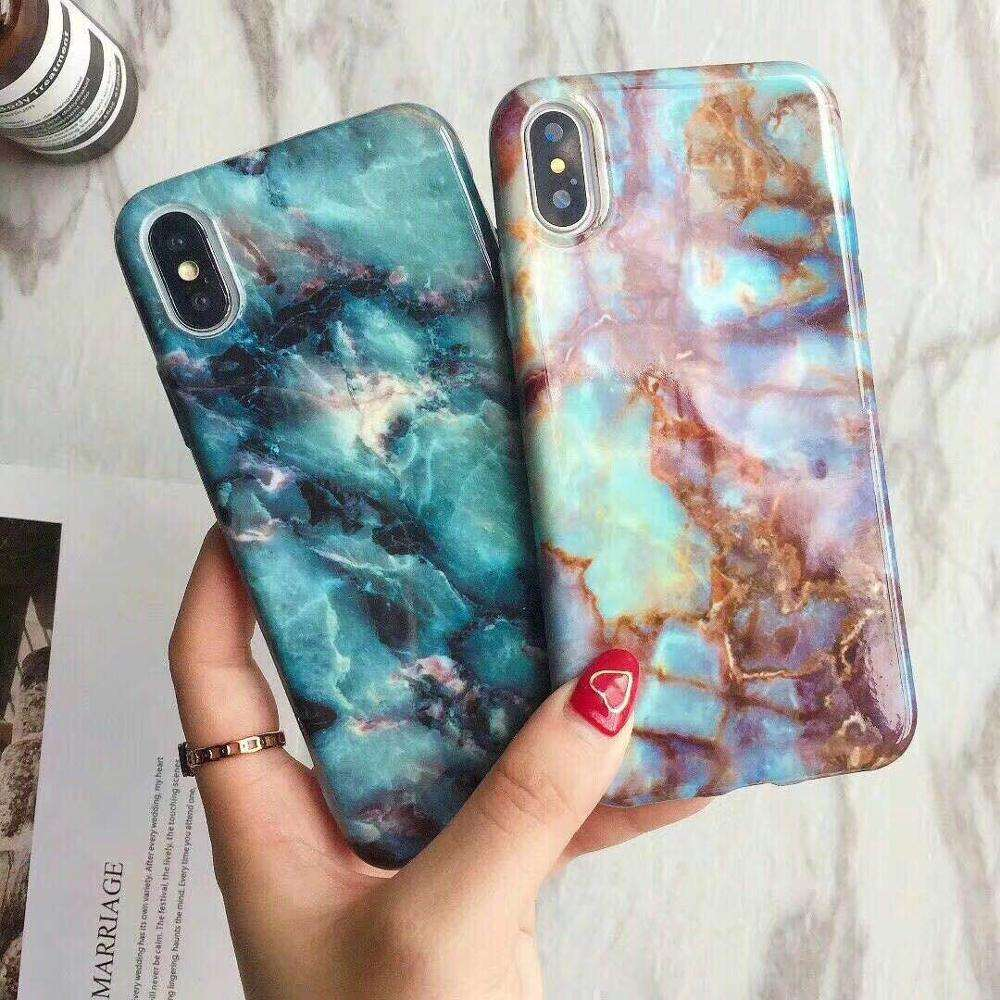 Water Paste design marble texture cover case for iphone 5 6 7 8 TPU PC Marble phone case Shockproof Protective