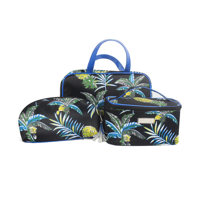 Trend Designer Tropical Style Portable Floral Leaves Prints Set of 3 Makeup Vanity Organizer Toiletry Cosmetic Bag