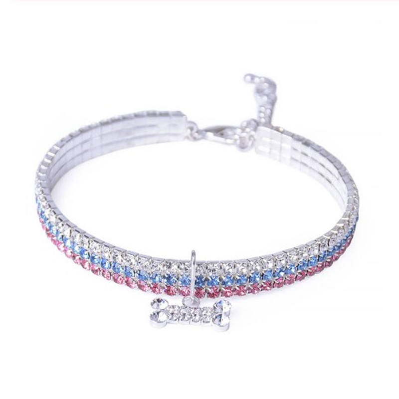 Bling Crystal Dog Collar Leash Shiny Full Rhinestone Soft Material Adjustable Small Dogs Cat Pets Collars With Bone Pet Supplies