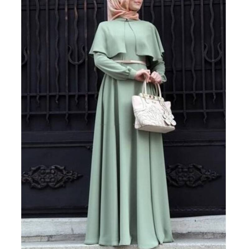 Real photo NO belt! New Muslim Maxi Dress With Long Sleeves Spring Autumn Long Robes Dresses Ladies Middle East Islamic Clothing
