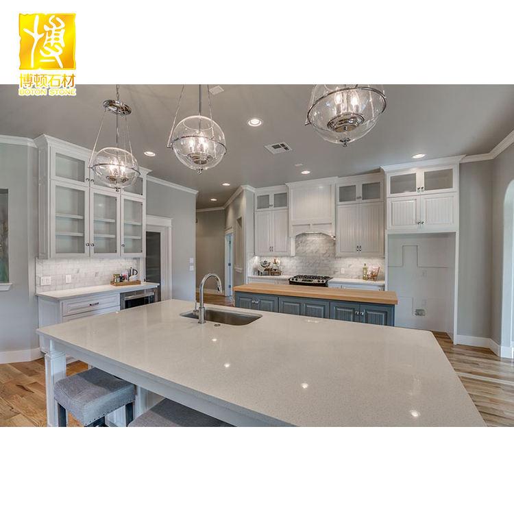 Blanco al por mayor superficie sólida encimera de piedra de cuarzo para la cocina de mesa