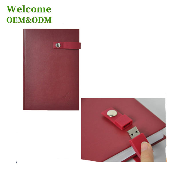 2016 custom fancy embossed leather executive notebook diary with usb