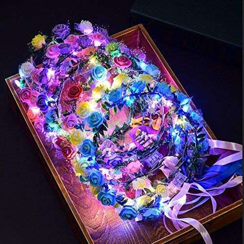 LED Light up Rose Flower Fairy Wreath Crown Garland Ribbon Headband