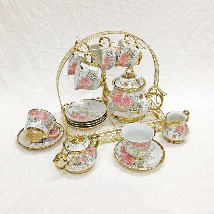 colored porcelain ceramic afternoon coffee tea cup pot sets