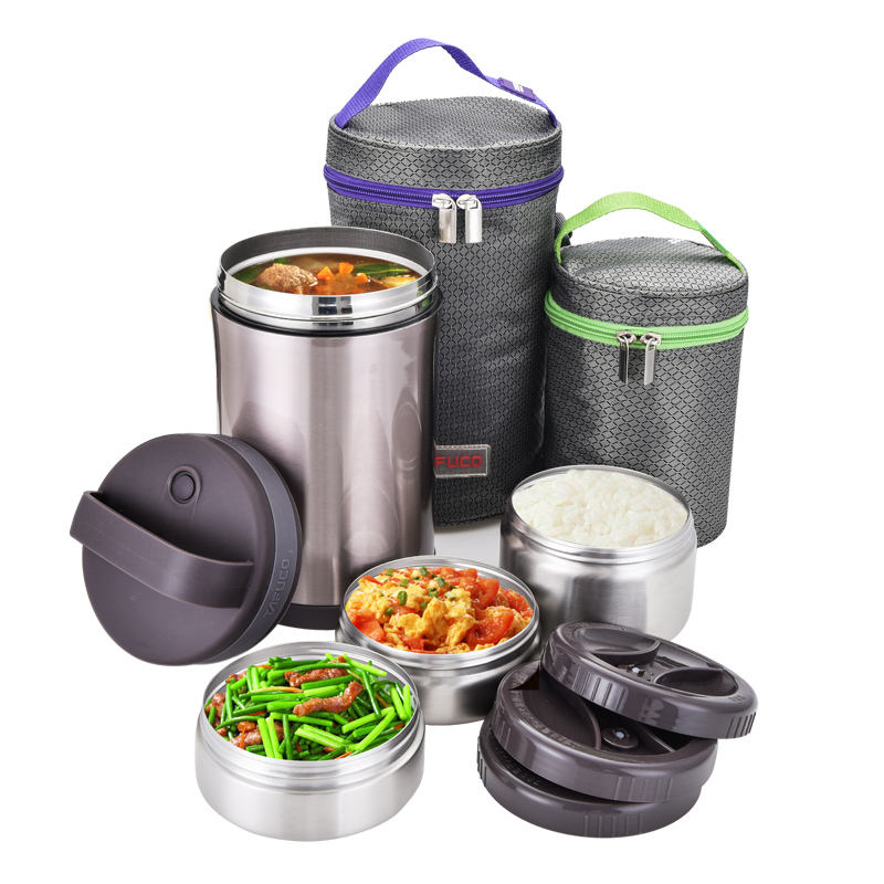 3 Layer Rvs Thermos Geïsoleerde Bento Lekvrije Lunch Box Set Met Zak