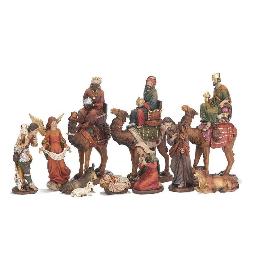 Church Outdoor Decor Bronze Life Size Nativity Scene With Three Kings On Camels Status for sale