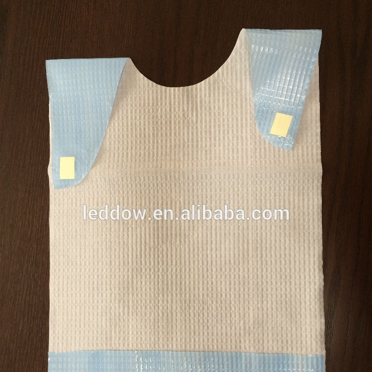 Waterproof Nursing Home Disposable Adult Paper Bib Disposable Adult Plastic Bib, Tissue Poly Bibs for Adults with Embossing
