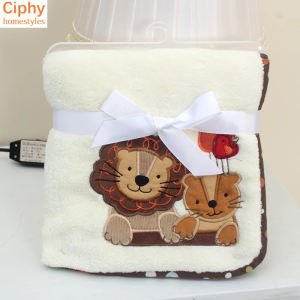 Embroidery Plush Blanket Plush Toys Children Coral Fleece Baby Warm Blankets As Gift