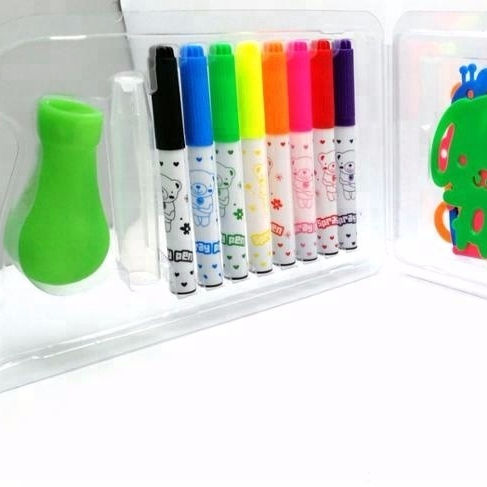Blow spray pen water color pen with stencil for kids DIY