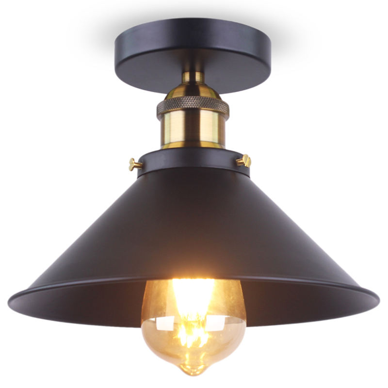 Flush Mount Ceiling Lights LED Edison Bulb Industrial Vintage Style Black Wall Lamp Round for Hallway Study Room Office Bedroom