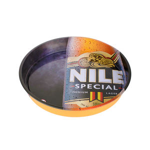 [20 Years Supplier] oem printing round metal serving tin tray for party beer promotional