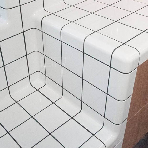 Lightweight Wall Tiles White Tile Curved Ceramic