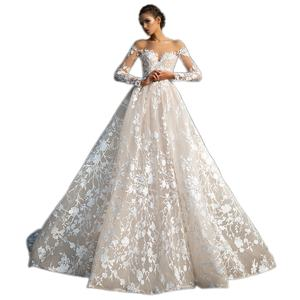 Elegant Vestido De Renda Lace Long Sleeve Wedding Dress Open Back A Line Bridal Gowns