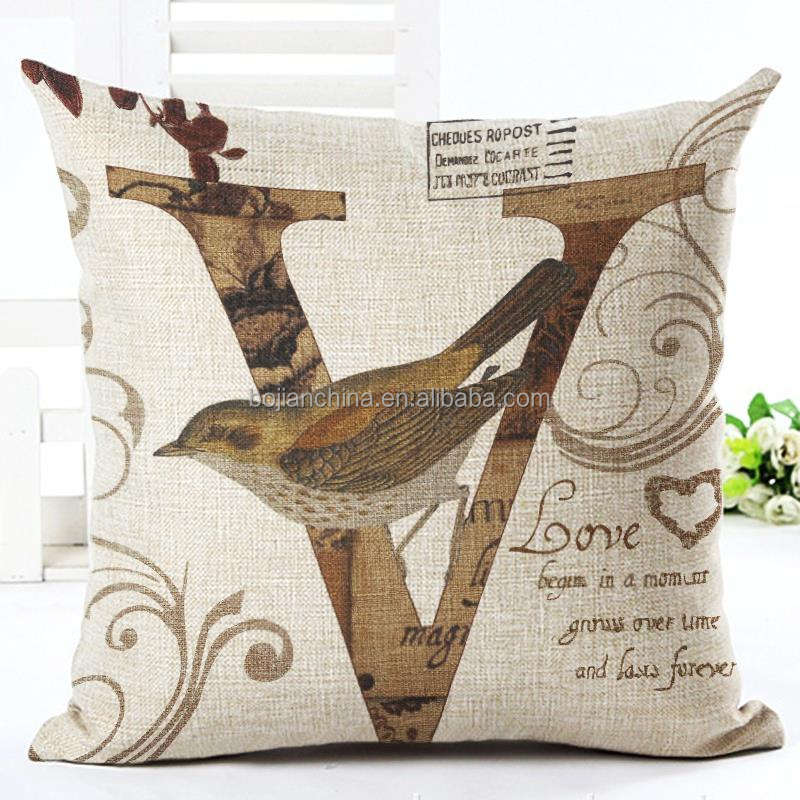 Etsy hot sale cartoon pattern pillow letter V cushion cover irory burlap cushion cover