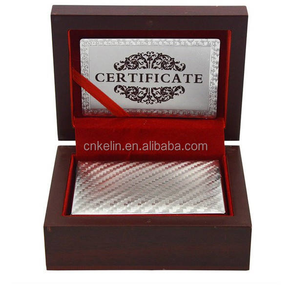 Custom blank playing cards in silver color with guarantee card and wooden box