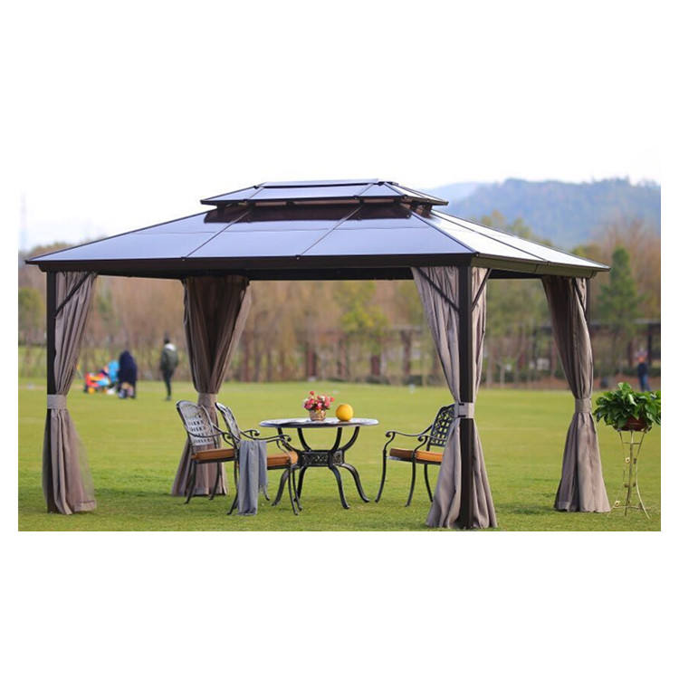 Garden cheap metal hardtop patio gazebo party polycarbonate panel pavilion