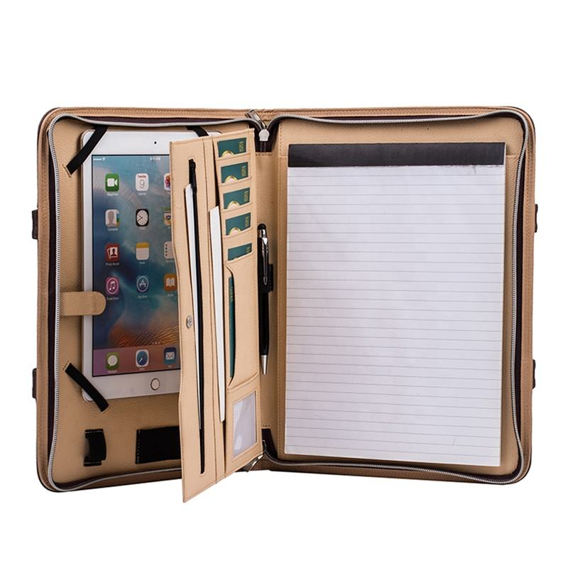 A4 Professional Executive PU Leather Business Zipper Padfolio with Tablet Sleeve Holder