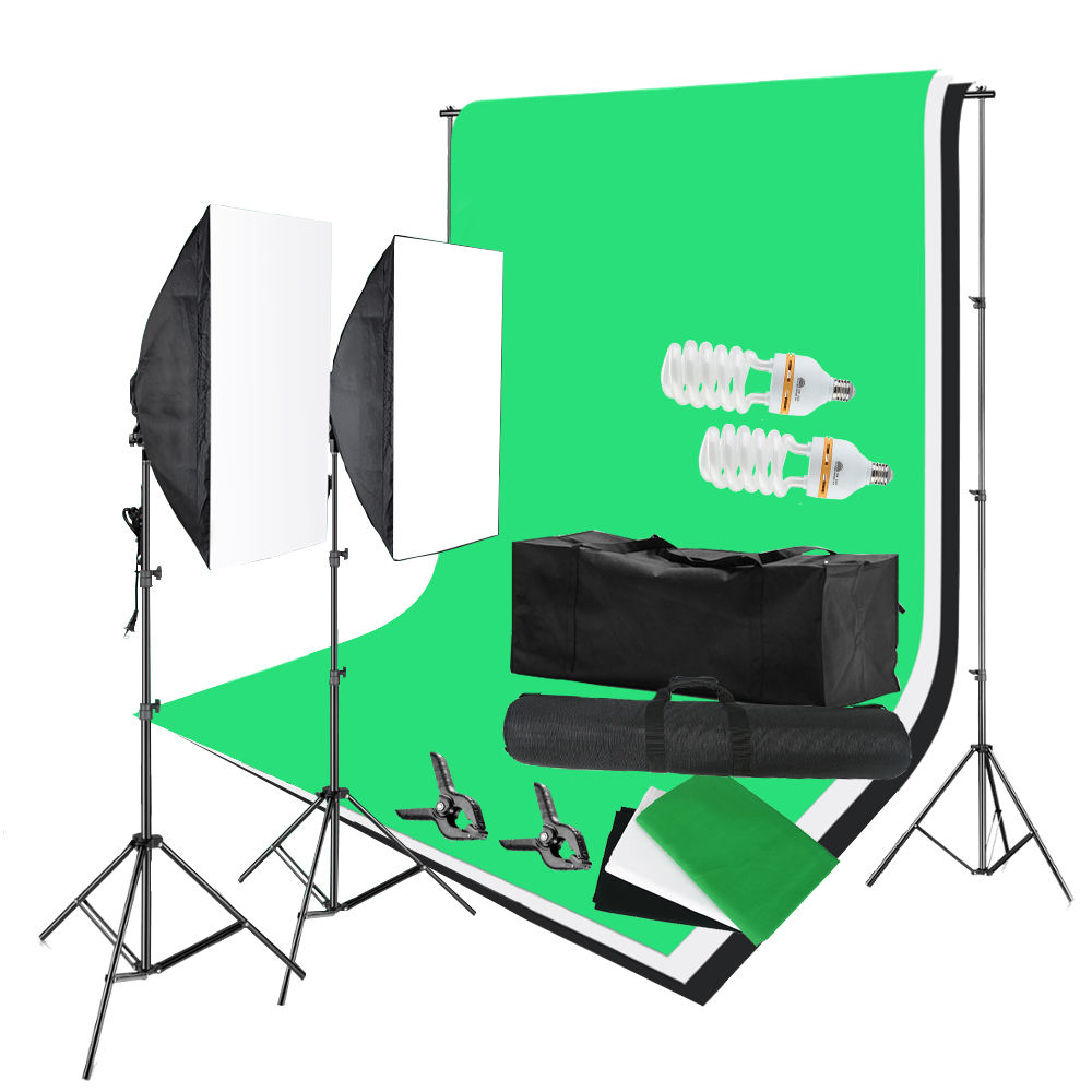 "135W 5500K Photography Studio Video Lights Lighting Kit 20*28"" Softbox 3 Backdrops Background Support Stand Softbox Lighting kit"