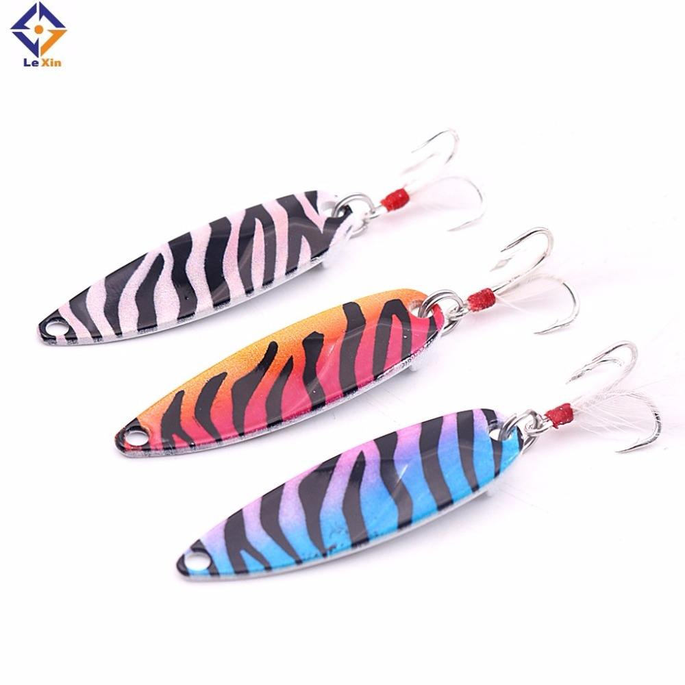 colorful 7.5g metal feather triple hook fishing lure spoon for bass