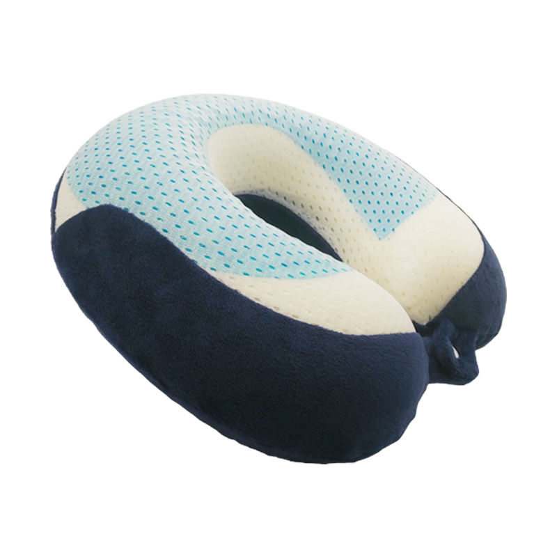 High Quality Mesh Fabric Cool Gel Memory Foam Travel Neck Pillow