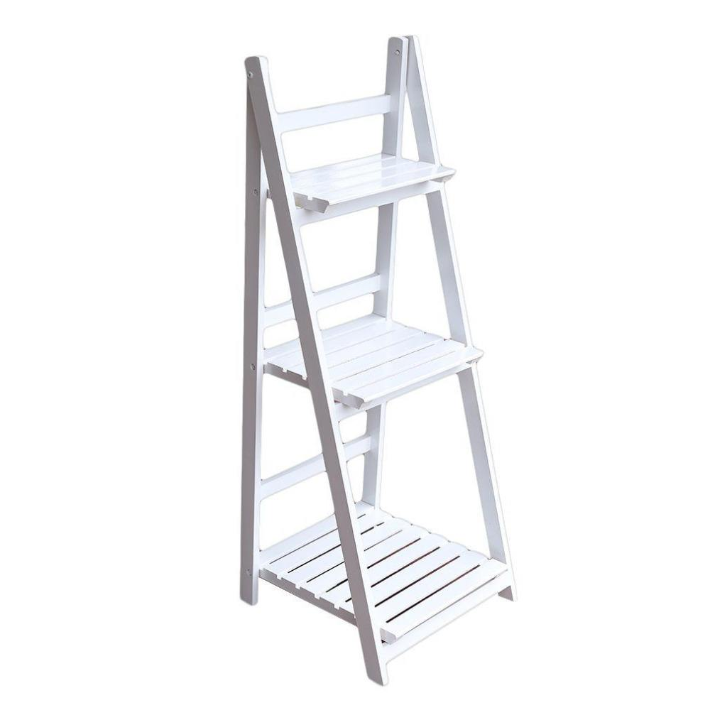 3 TIER WHITE LADDER SHELF DISPLAY UNIT FOLDING RACK FLOWER POT WINE WOOD STAND