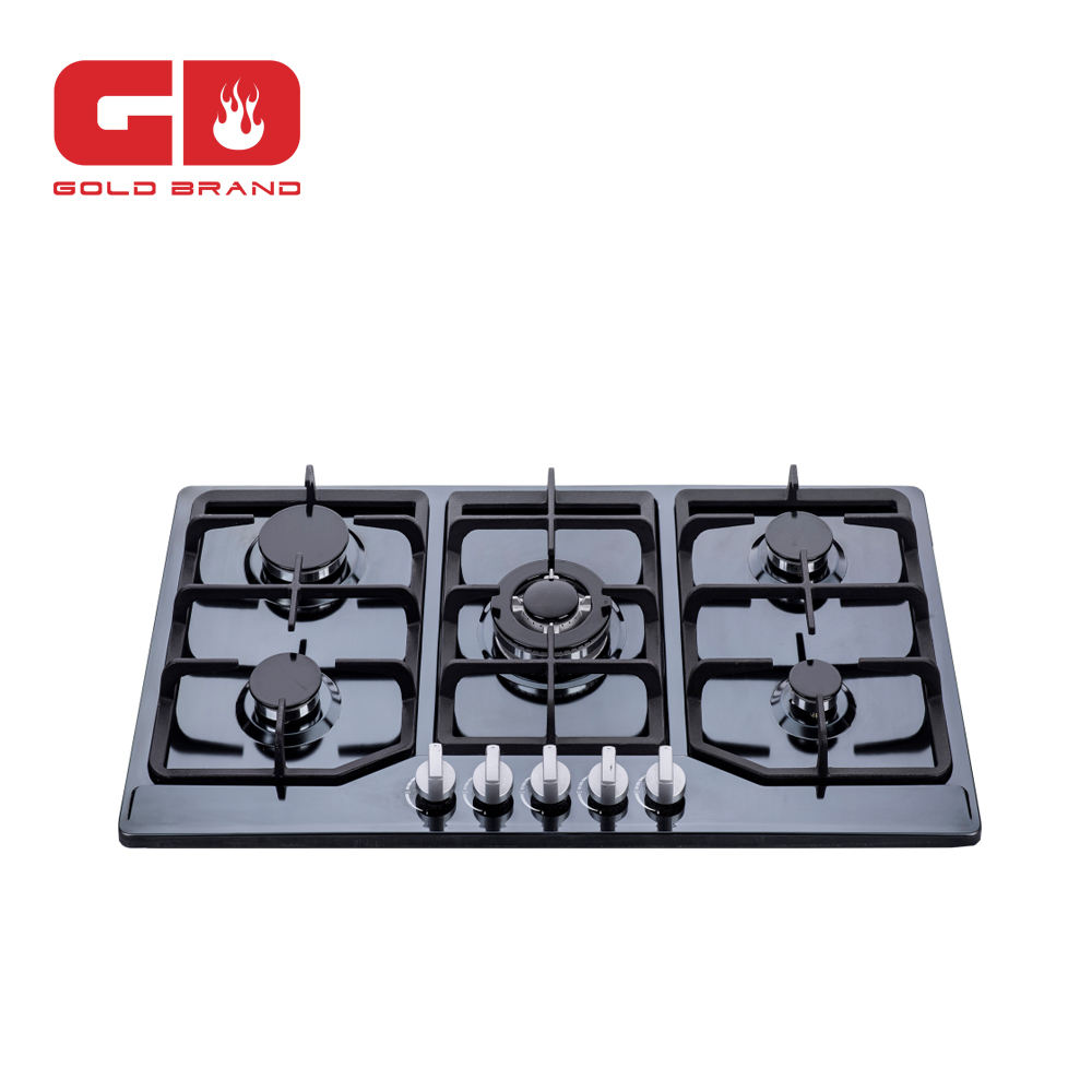 Five burner gas hob with cast iron pan support