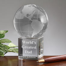 custom crystal world map engraved ball with base ,company souvenirs paperweight