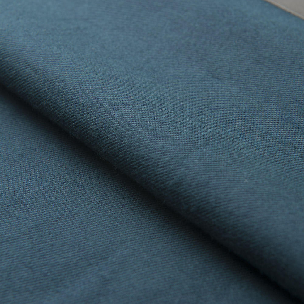 LuThai Textile NOS 100% cotton yarn dyed solidblue-green twill brushed cotton fabric