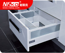 kitchen silent soft closing metal drawer with forest glass