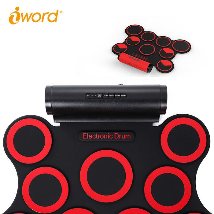 デジタルロールアップドラムパッドキット、シリコン折りたたみ、記録機能、スティックとスイッチペダル
